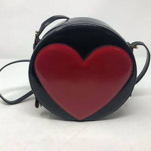 Moschino Redwall Red Black Leather Heart Bag Vtg.